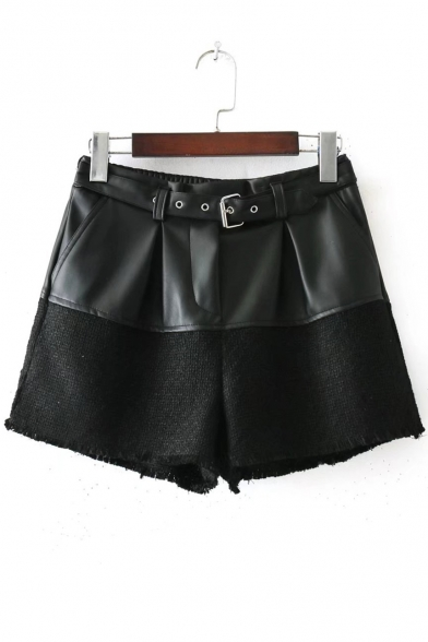 Cool Belted Elastic Waist PU Tweed Patchwork Culottes Shorts