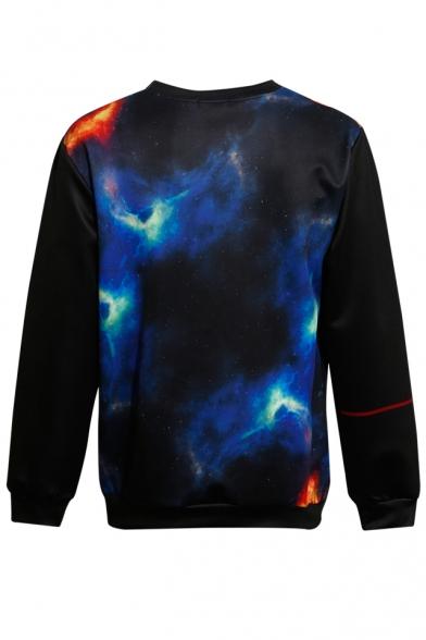 Cool Hexagram Star Geometric Letter Galaxy Pattern Long Sleeves Pullover Sweatshirt