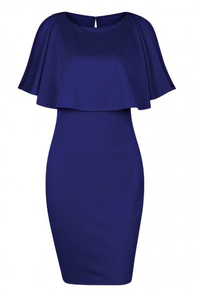 Fancy Round Neck Short Split Sleeves Plain Bodycon Mini Layered Dress