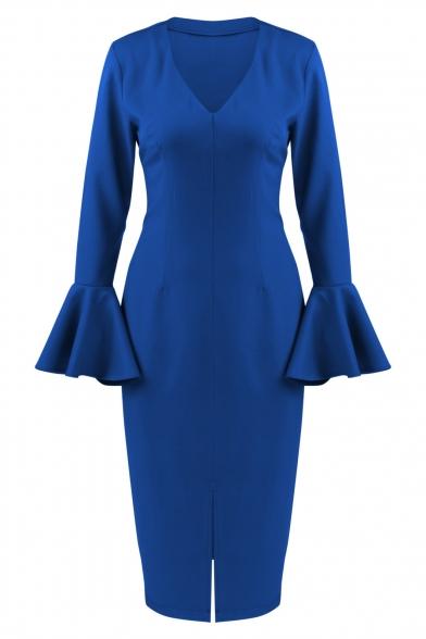 Fashion Simple Plain V-Neck Flared Cuff Split Side Dress