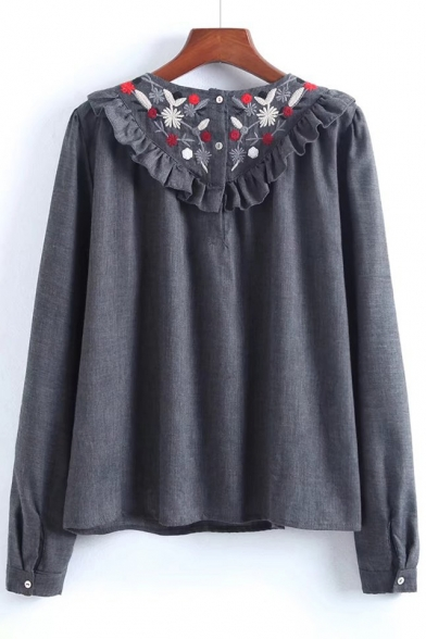 Fashionable Floral Embroidered Ruffle Long Sleeve Round Neck Blouse