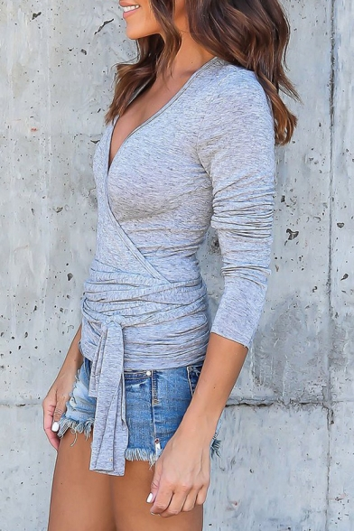Fashionable Simple Plain Wrap Front Long Sleeve Tee