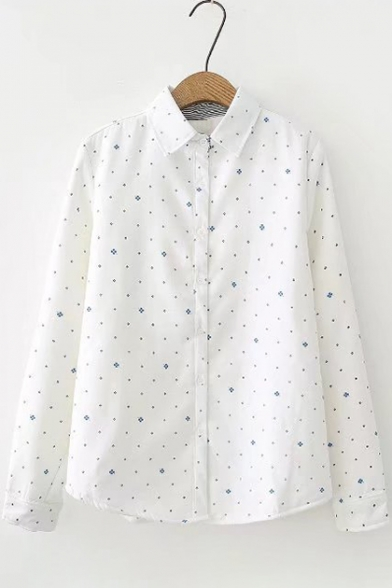 Four Leaf Clover Pattern Long Sleeve Lapel Button Down Shirt