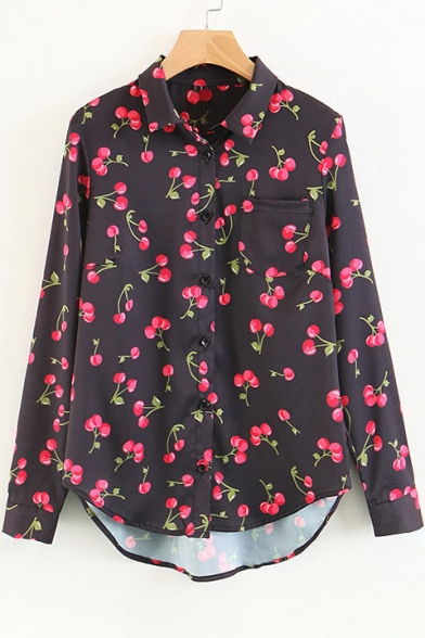 Girlish All Over Cherry Pattern Long Sleeves Button Down Pocket Shirt