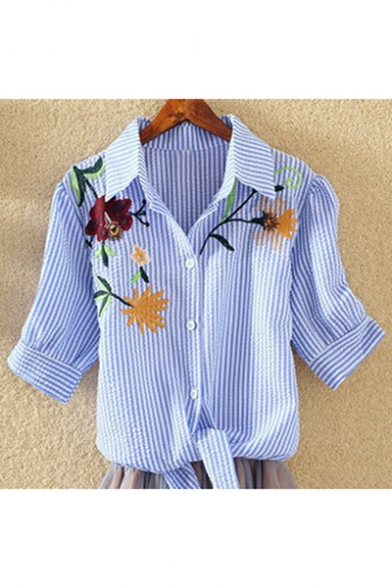 Leisure Floral Embroidered Short Sleeves Lapel Button Bow Tie-Front Cropped Shirt