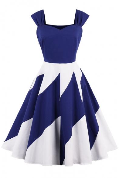 New Fashion Color Block Print Sleeveless Fit & Flare Dress