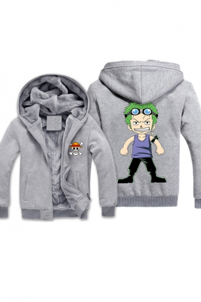 New Stylish Cartoon Print Long Sleeve Zipper Sport Hooded Coat