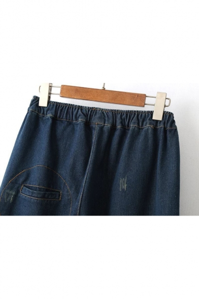 Peasant Style Floral Applique Drawstring Waist Loose Dark Wash Denim Jeans