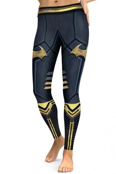 Popular Superhero Color Block Slim-Fit Elastic Waist Leggings