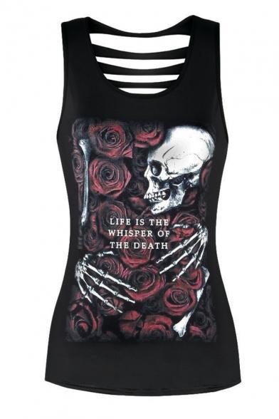 Retro Floral Skull Skeleton Rose Printed Scoop Neck Ladder Back Slim-Fit Tank LC461885