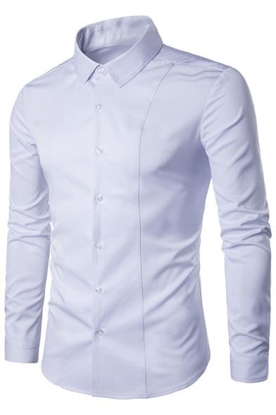 Simple Plain Single Breasted Long Sleeve Lapel Shirt