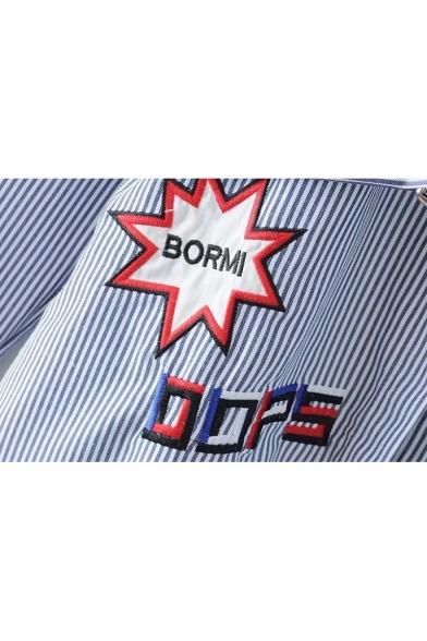 Star Letter Embroidered Striped Pattern Lapel Belt Waist Dip Hem Tunic Shirt with Pocket