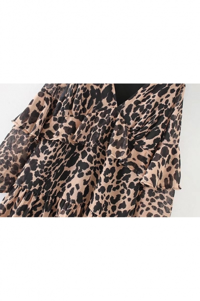Trendy Leopard Panther Pattern V-Neck Bell Layered Sleeves Layered Tiered Smock Mini Dress