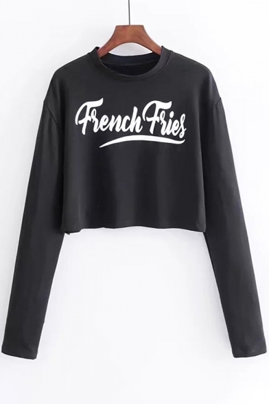 Casual Letter Pattern Round Neck Long Sleeves Loose Cropped Tee