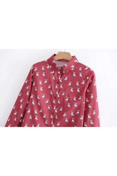 Sleeve Chic Lapel Print Long Cartoon Shirt Single Repetitive Dog Breasted rPwxPX4Uq