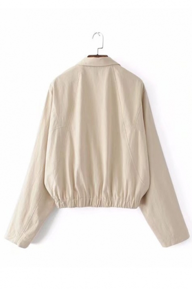 Buttons Elastic Waist Lapel Plain Collar with Double Faux Long Coat Pocket Sleeve RT1qRdY