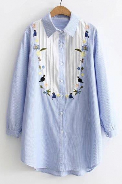 Cat Floral Shirt Long Sleeve Color Cartoon Embroidery Tunic Striped Block Pattern 5qEpp6