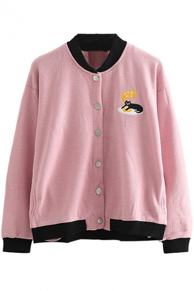 Embroidery Cartoon Cat Letter Print Long Sleeve Single Breasted Stand-Up Collar Jacket