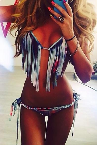 Ethnic Boho Bikini Halter Pattern Style Neck Tassel Summer Embellished xwgxrzO