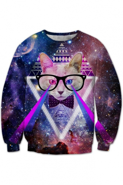Galaxy Sleeves Fabulous Long Neck Round Laser Cat Geometric Sweatshirt Pattern Pullover 4nnARgP