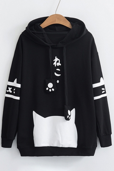 Fashionable Cartoon Japanese Print Long Sleeve Loose Hoodie