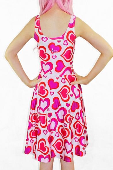 Girlish Allover Sweetheart Pattern Scoop Neck Mini Tank A-line Dress