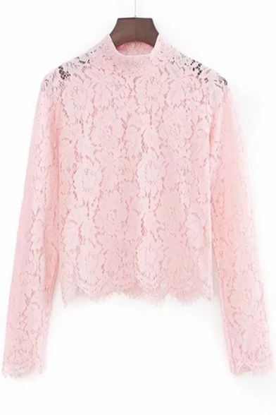 Plain Long Sale T Cropped Turtleneck Sleeve Hot Shirt Lace fw7nFvq5x