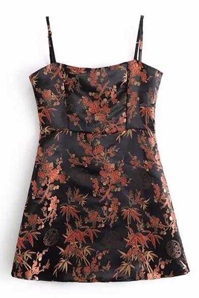Spaghetti Straps Floral Pattern Bodycon Mini Cami Dress