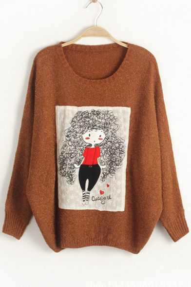 Sweater Pullover Leisure Sleeves Loose Neck Girl Printed Cartoon Round Batwing 6nnzqZUBw
