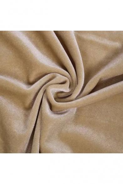 Sexy Halter Neck Open Back Split Side Dipped Hem Plain Velvet Mini Cami Dress