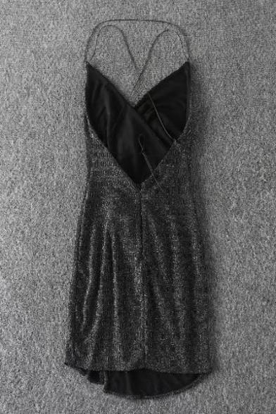 Sexy Plunge Neck Cross Back Split Hem Sequined Bodycon Cami Mini Dress