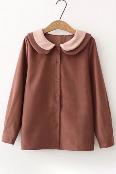 Simple Layered Contrast Peter Pan Collar Long Sleeves Button Down Plain Shirt