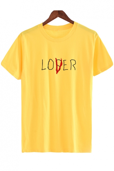 Neck LOSER Casual Printed Short Tee Sleeves Round Simple Letter IdawqxvI4