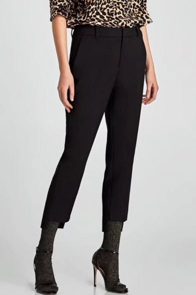 Simple Plain Zip Fly Asymmetric Hem Leisure Pants