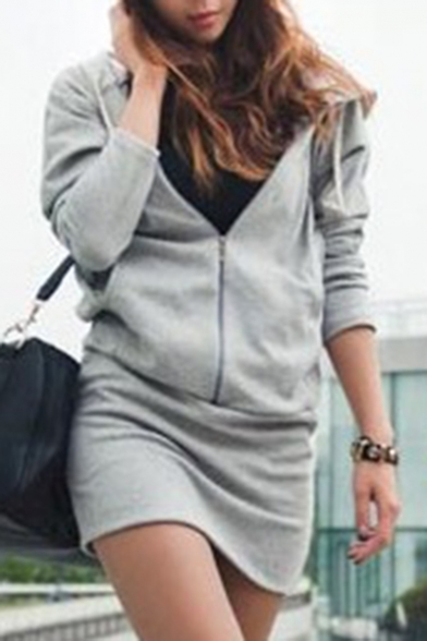 Stylish Plain Drawstring Hood Long Sleeve Zipper Hooded Dress