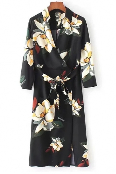 Summer's Fashion Floral Pattern V-Neck Long Sleeve Midi Wrap Dress