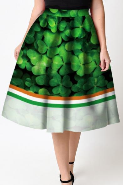 Trendy Color Block Elastic Waist Clover Printed Flared Midi Skirt