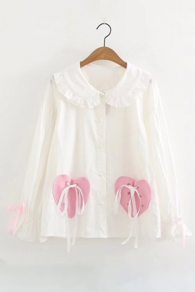 Trendy Heart Print Tie Front Long Sleeve Peter Pan Collar Ruffle Detail Shirt