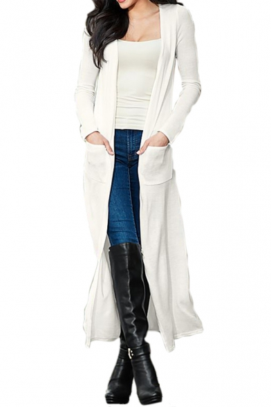 Image of Autumn Collection Open Front Double Pockets Longline Plain Slim-Fit Women's Cardigan