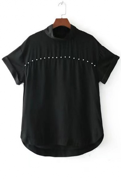 Basic Plain Beaded Front Turtleneck Short Sleeve Blouse