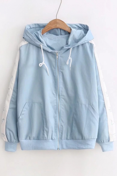 Cartoon Figure Pattern Long Sleeve Zipper Hooded Coat