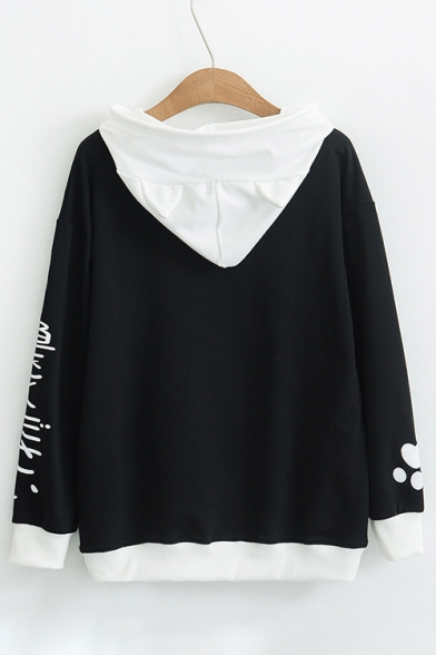 Pattern Color Hoodie Cat Sleeve Long Block Casual Japanese qSCWIw6xAZ