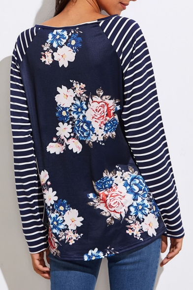 Floral Sleeves Neck Women's Casual Pattern Boat Tee Striped 5YIxqqHwE