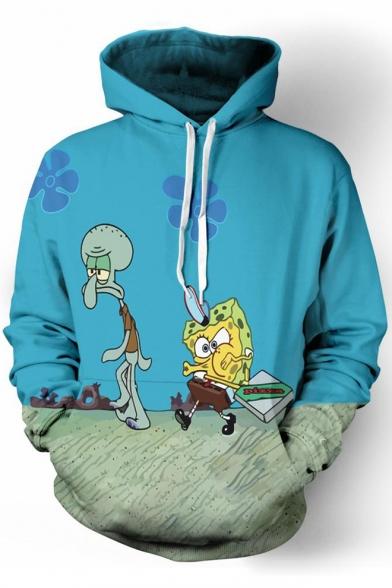 Chic Cartoon Underwater Printed Long Sleeves Pullover Hoodie with Pocket