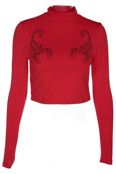 Cropped Pullover Fit Chic Tee Sleeves Lobster Slim Neck Printed High Long 0wAzqr08S