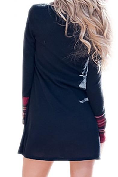 Chic Plaid Color Block Long Sleeve Turtleneck Mini Dress