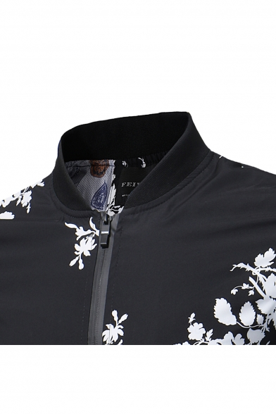 Chinese Style Floral Print Long Sleeve Zipper Stand-Up Collar Jacket
