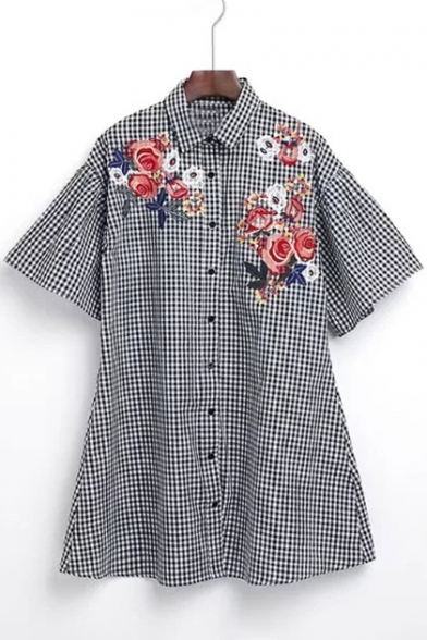 Classic Plaid Embroidery Floral Pattern Lapel Button Shirt Dress