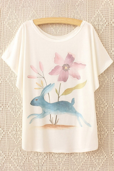Batwing Printed Sleeve Cute Short Neck Loose Rabbit Round Cartoon Tee Ew1qnqHXB