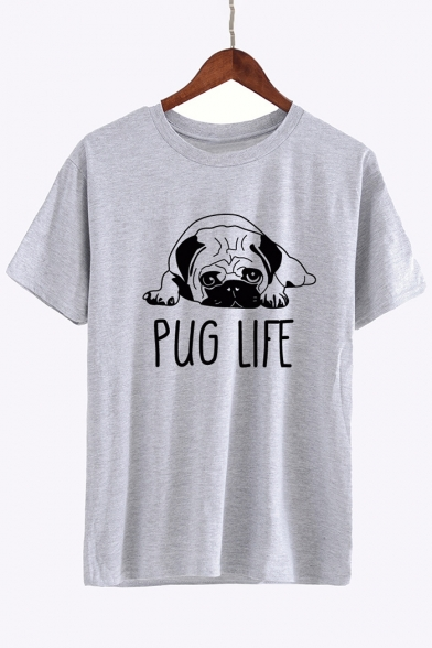 Tee Puppy Printed Dog Cute Letter Sleeves Round Neck Casual Short ORwqwdz